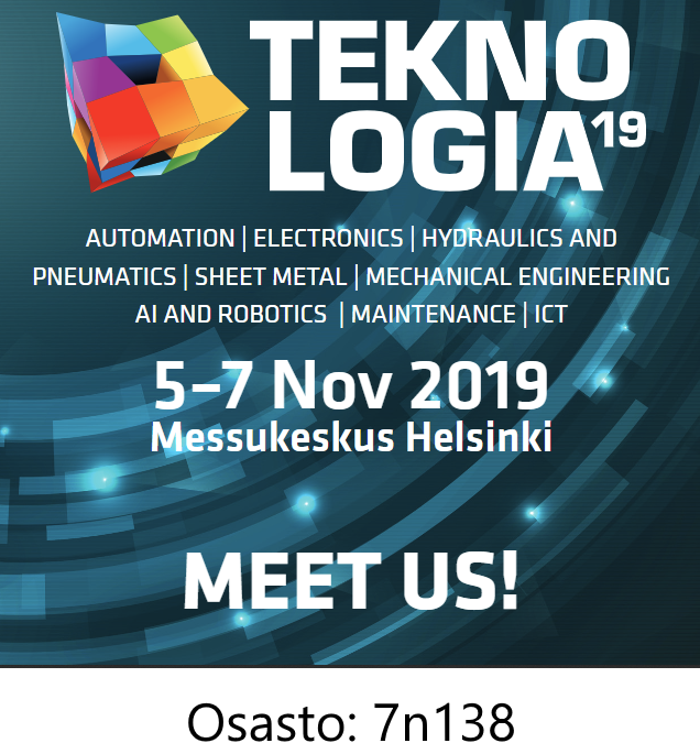 Meet us at the Teknologia 19 in Messukeskus Helsinki, Finland